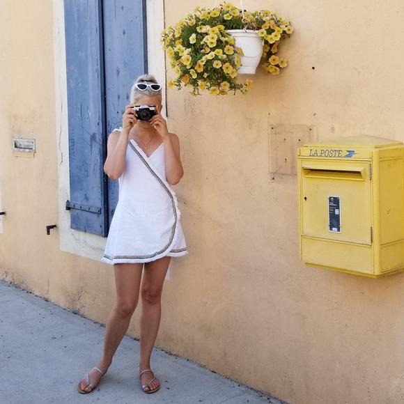 White Linen Wrap Dress / Beach Cover up